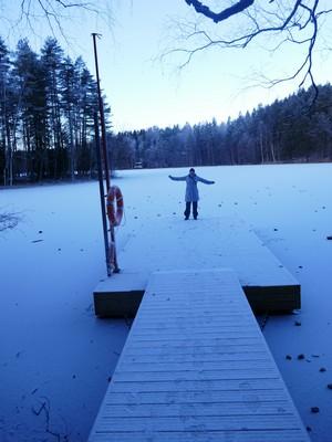kerstin blomqvist on a frozem lake