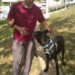 אברמי עומד ליד כלב שחור